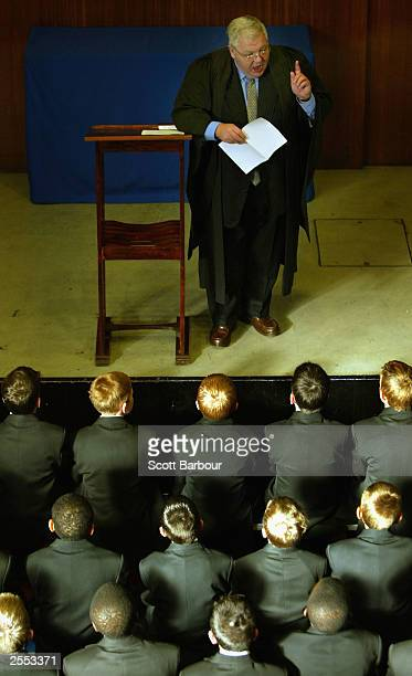 Headmaster talks to students during assembly at The Cardinal Vaughan Memorial School on September 4, 2003 in London, England. Students across the...