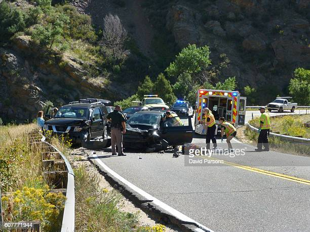 Head-on car suv crash emergency Bear Creek Canyon Morrison Colorado