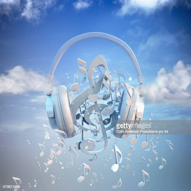 headphones blaring musical notes - note de musique photos et images de collection