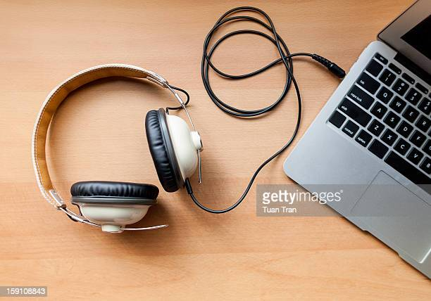 Headphones connected to laptop