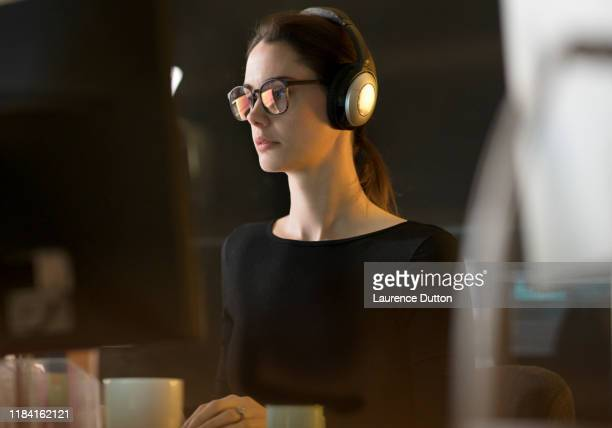 headphones copy space work - post-production stock pictures, royalty-free photos & images