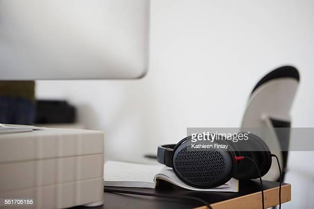 Headphones on edge of desk