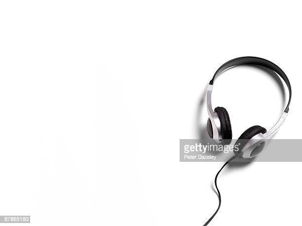 Headphones on white background landscape.
