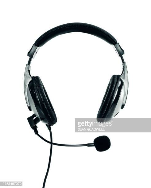headphones with microphone - microphone stock pictures, royalty-free photos & images