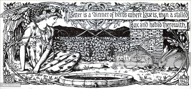 Better is a dinner of herbs where Love is than a stalled ox and hatred within Illustrated by Louis Davis an English Watercolourist book illustrator...