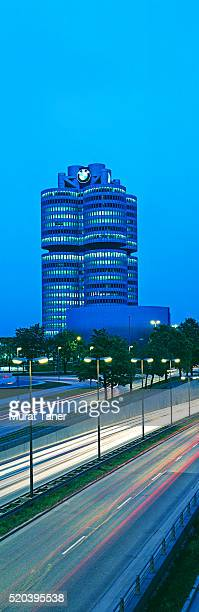 bmw headquarters and bmw museum in munich - bmw stock pictures, royalty-free photos & images