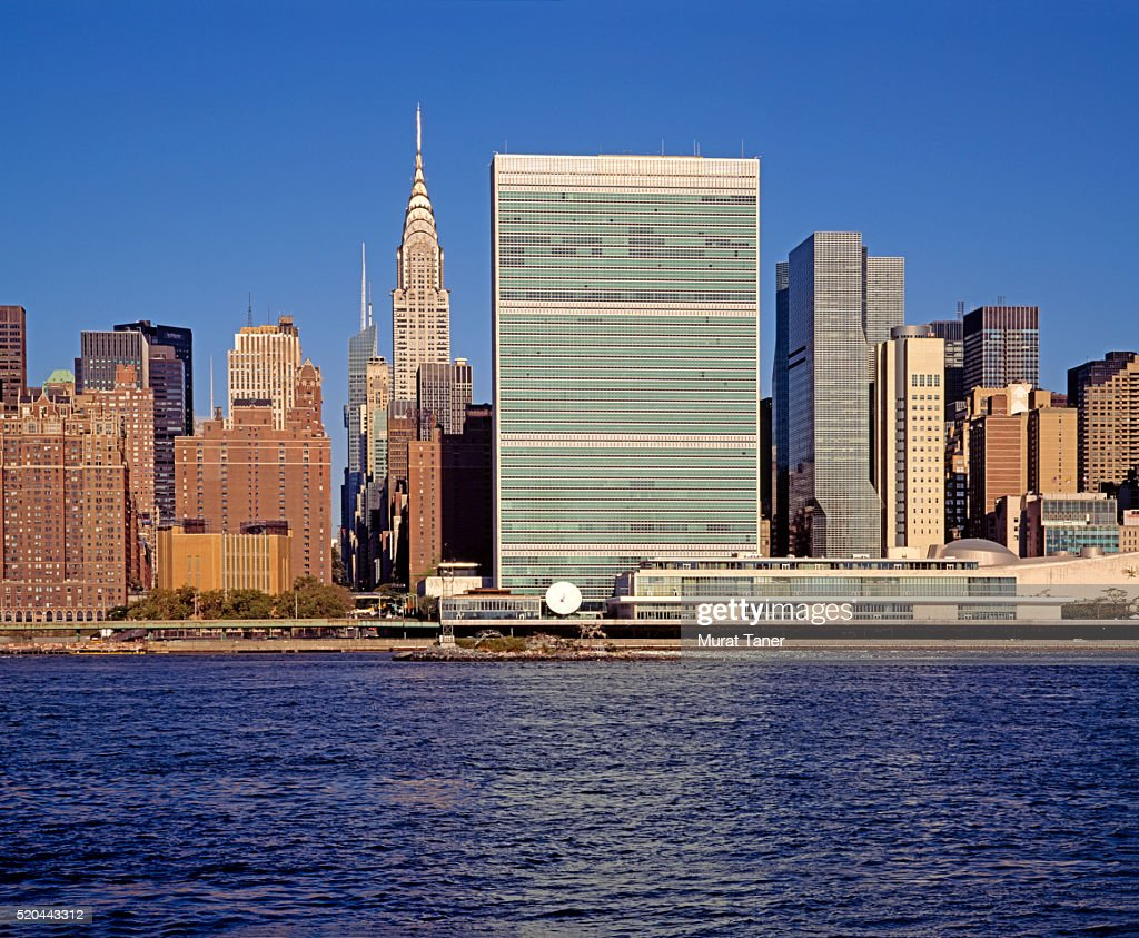 UN Headquarters and Chrysler Building : ストックフォト