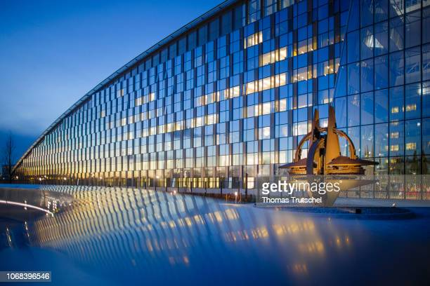 Headquarters at the Blue Hour on December 04 2018 in Brussels Belgium