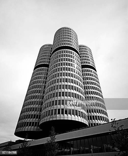 bmw headquarters building in munich - bmw stock pictures, royalty-free photos & images