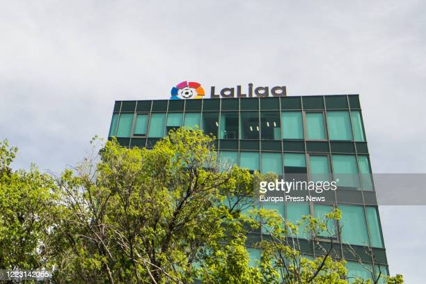 Headquarters building of La Liga, the body that runs the regular Football competition, at Calle Torrelaguna closed during the Covid-19 pandemic, on...