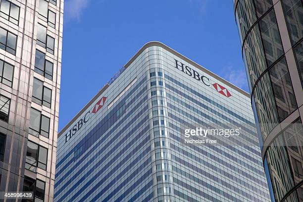 hsbc headquarters canary wharf - hsbc stock pictures, royalty-free photos & images