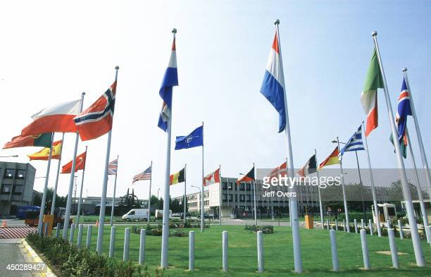 Headquarters flags Brussels Belgium