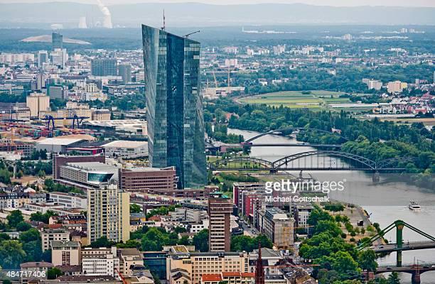 Headquarters of European Zentralbank ECB or Europaeische Zentralbank EZB next to River Main on August 14 2015 in Frankfurt Germany