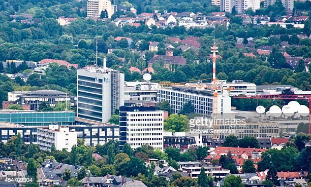 Headquarters of Hessischer Rundfunk Television station on August 14 2015 in Frankfurt Germany