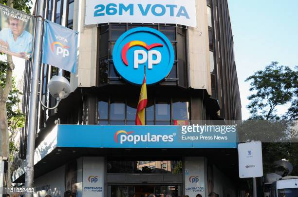 Headquarters of PP in Genova street of Madrid before knowing the electoral results of 26M on May 26, 2019 in Madrid, Spain. .