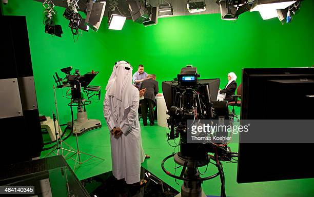 Headquarters of the broadcaster Al Jazeera here a television studio during a recording for the Arabic speaking program on June 05 in Doha Qatar Photo...