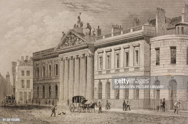 Headquarters of the East India Company London England United Kingdom engraving by Lemaitre from Angleterre Ecosse et Irlande Volume IV by Leon...