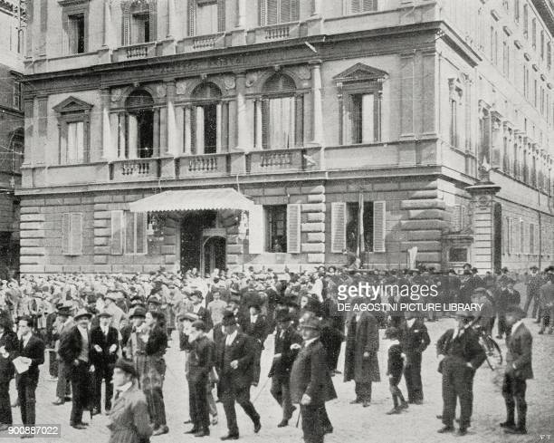 Headquarters of the fascist command at the Hotel Bristol Rome March on Rome Italy from L'Illustrazione Italiana Year XLIX No 45 November 5 1922