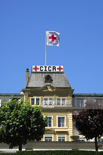 Headquarters of the International Committee of the Red Cross ICRC with the Red Cross flag Geneva Switzerland