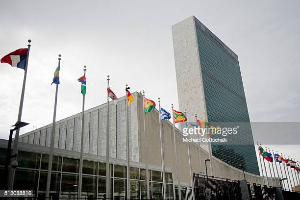 Headquarters of the United Nations with flags of its Member States on February 29 2016 in New York United States