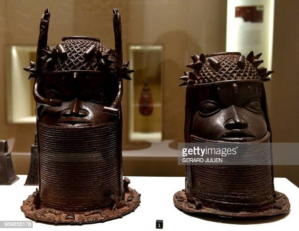 Heads of a Royal ancestor arts of the Kingdom of Benin of the end of the 18th century are on display on May 18 2018 at the Quai Branly MuseumJacques...