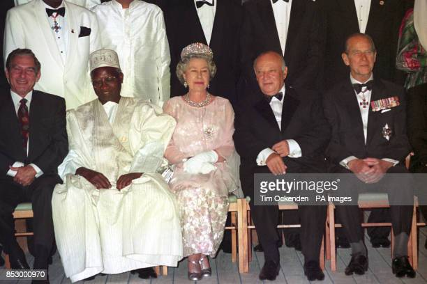 Heads of Commonwealth on the Royal Yacht Britannia prior to dinner hosted by Queen Elizabeth II seen with the President of Gambia Sir Dawda Jawara...