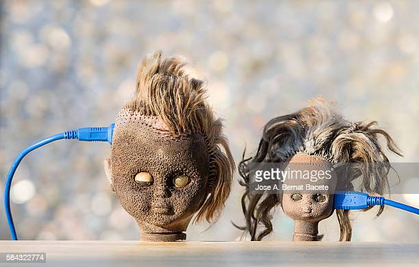 Heads of dolls with a cable of computer connected to the brain