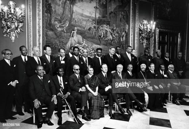 Heads of Government pose for the opening session of the Commonwealth Prime Ministers' Conference at Marlborough House in London on January 7 1969...