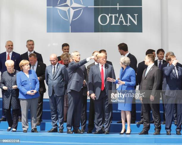 Heads of governments of member countries of NATO at the opening ceremony of NATO summit 2018 in front of NATO headquarters in Brussels Belgium on...