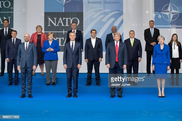 Heads of state and government including Belgian Prime Minister Charles Michel NATO Secretary General Jens Stoltenberg US President Donald Trump and...