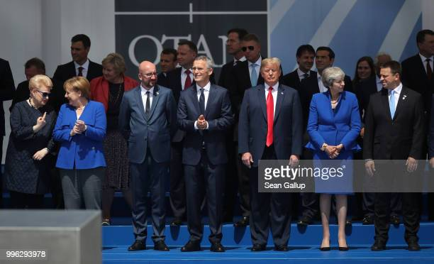 Heads of state and government including Lithuanian President Dalia Grybauskaite German Chancellor Angela Merkel Belgian Prime Minister Charles Michel...