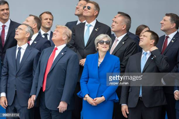 Heads of state and government including NATO Secretary General Jens Stoltenberg US President Donald Trump British Prime Minister Theresa May and...