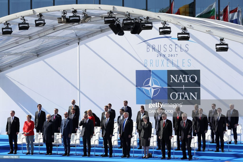 Heads of state attend a ceremony during the NATO (North Atlantic Treaty Organization) summit at the NATO headquarters, in Brussels, on May 25, 2017. / AFP PHOTO / POOL / Dan Kitwood