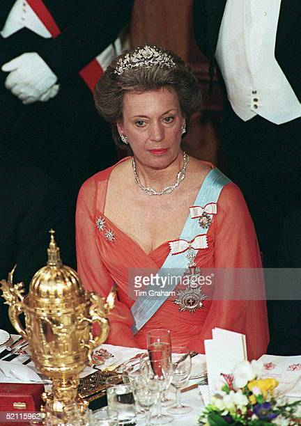 Heads Of State Banquet At Guildhall London To Commemorate 50th Anniversary Of End Of War In Europe Princess Benedikte Of Denmark