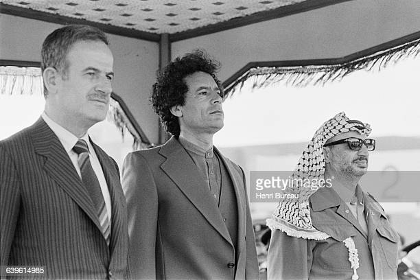 Heads of state Hafez al Assad Muammar alQaddafi and Yasser Arafat during the 4th summit of the Steadfastness and Confrontation National Front in...