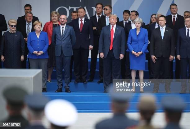Heads of state including Lithuanian President Dalia Grybauskaite German Chancellor Angela Merkel Belgian Prime Minister Charles Michel NATO Secretary...