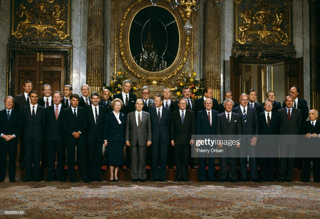 Heads of state meet for the Brussels European Union Summit. Attendees include British Prime Minister Margaret Thatcher; French President Francois Mitterrand; Baudouin I, King of the Belgians; European Union President Jacques Delors; French Prime Minister Jacques Chirac.