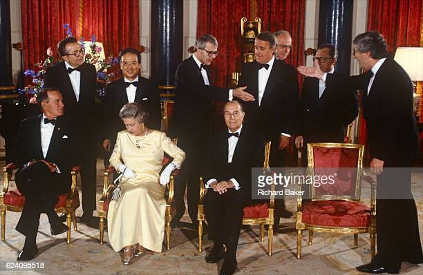 Heads of state of the G7 economic nations including in the front row President George Bush Queen Elizabeth II Francois Mitterrand Helmut Kohl and at...