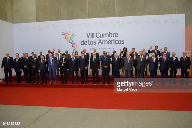 Heads of State pose for the Family photo during Day 2 of the VIII Summit of The Americas on April 14 2018 in Lima Peru