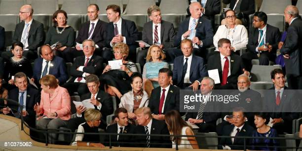Heads of States and Governments plus representative of guest invitees attend a concert at the Elbphilharmonie philharmonic concert hall on the first...