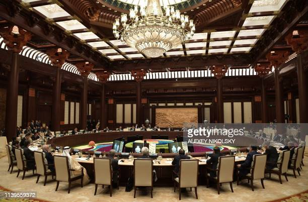 Heads of states and officials attend a roundtable summit session on the final day of the Belt and Road Forum in Beijing on April 27 2019 Chinese...