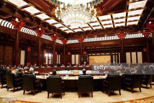 Heads of states and officials attend a summit at the Belt and Road Forum on May 15 2017 in Beijing China The Belt and Road Forum focuses on the One...