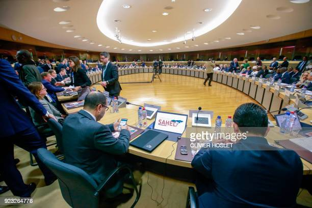 Heads of states and representatives of European and African countries attend a High Level Conference on the Sahel at the European Commission in...