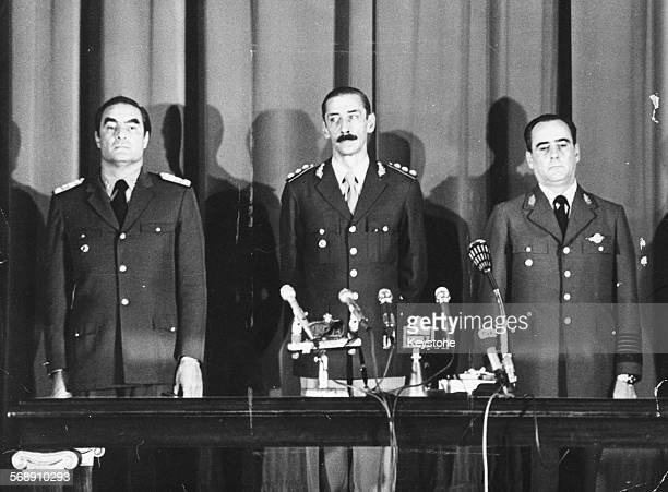 Heads of the Argentina's armed forces are sworn in following the coup to overthrow President Maria Estela Peron General Emilio Massera Admiral Jorge...