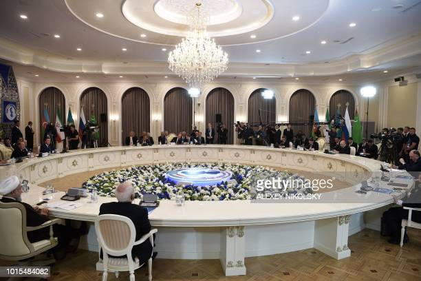 Heads of the Caspian region countries take part in a plenary session during the 5th Caspian Summit in Aktau on August 12 2018