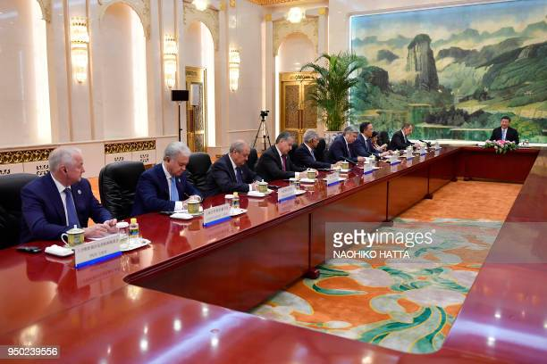 Heads of the delegation of the Shanghai Cooperation Organisation have a meeting with Chinese President Xi jinping at the Great Hall of the People in...