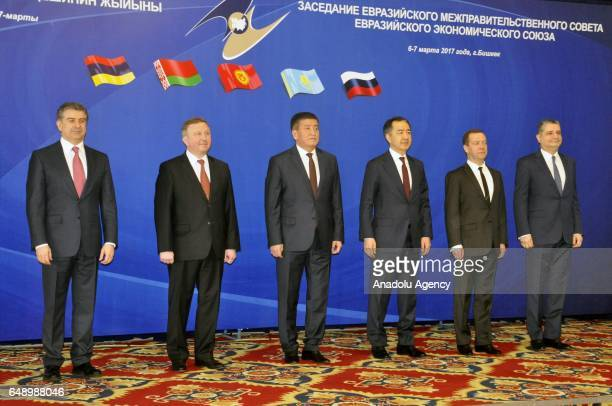 Heads of the states members of the Eurasian Economic Union gather to pose for a family photo before the Eurasian Economic Union meeting in Bishkek...