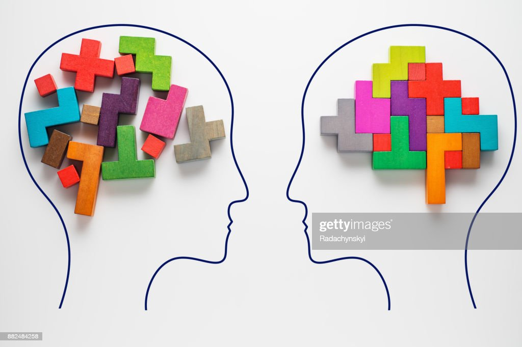 Heads of two people with colourful shapes of abstract brain : Foto de stock