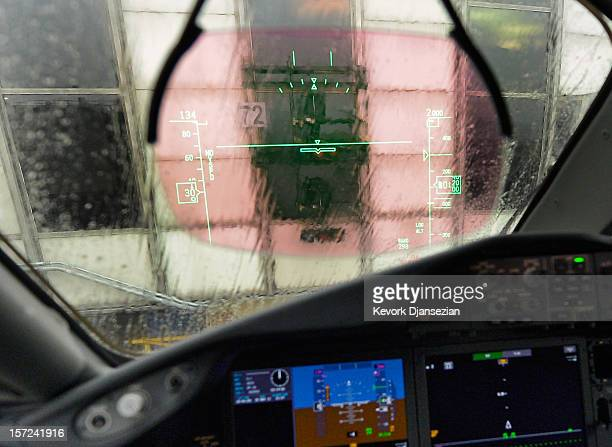 Heads Up Display appears on the windshield of the United Airlines new Boeing 787 Dreamliner at Los Angeles International Airport on November 30, 2012...