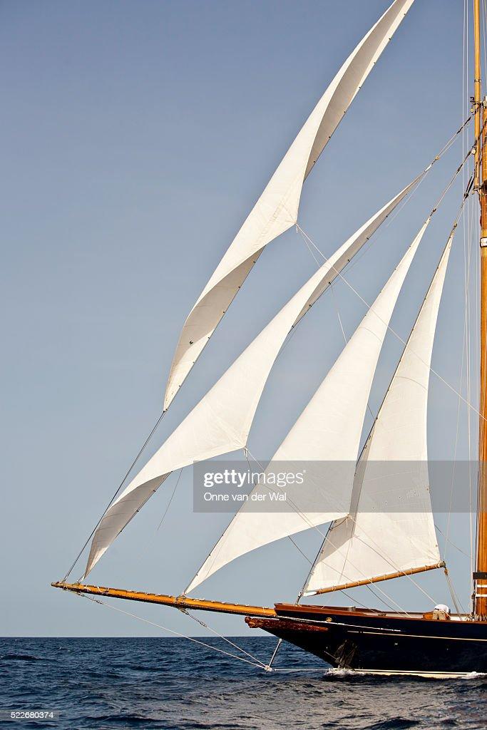 Headsails On The Schooner Shenandoah Of Sark While Sailing
